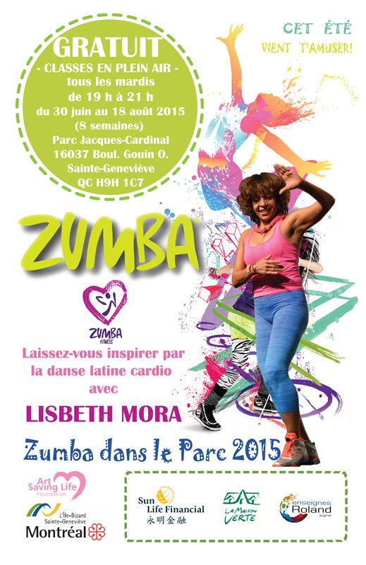zumba summer outdoor 2015 French poster 11x17